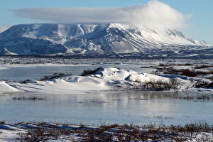 Картинки Пейзаж Исландия Горы Снег Blаfjall Природа