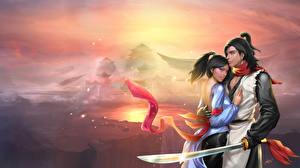 Картинка Любовь Мужчины Горы Влюбленные пары Сабли Фантастика Девушки