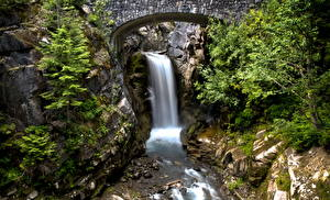 Картинки Водопады США Парки Маунт-Рейнир парк