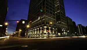 Картинка Штаты Дома Дороги Улица Ночь Detroit Города