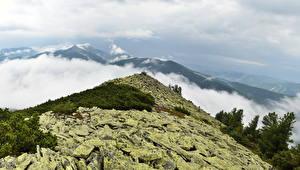 Обои Горы Украина Пейзаж Небо Закарпатье Облака