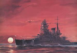 Фото Корабли Рисованные Рассветы и закаты Battleship IJN Nagato Армия