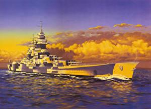 Фото Корабли Рисованные Облачно Richelieu военные