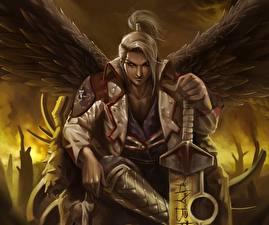Фотографии Ангелы Воители Мужчины Крылья Фэнтези