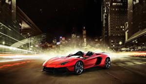 Фото Lamborghini Красных Дорогие Кабриолета 2012 Aventador J Автомобили Города