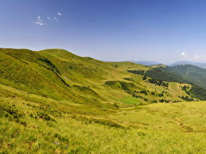 Картинки Горы Украина Пейзаж Карпаты Трава