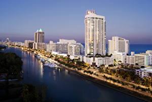 Обои США Побережье Дома Майами Города фото