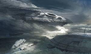 Обои Фантастическая техника Корабли Облачно Фэнтези Космос