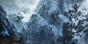 Обои The World of Legend Гора Снегу Скала Снежинки компьютерная игра Природа