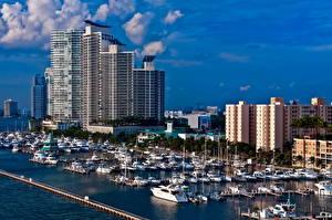 Обои США Дома Яхта Майами Города фото