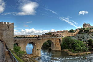 Картинка Испания Мосты Реки Крепость Небо Толедо