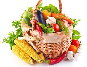 Обои Овощи Кукуруза Перец овощной Корзинка Еда