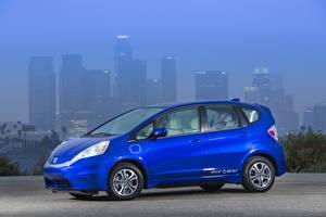 Картинки Honda Синий Сбоку 2013 Fit eV авто