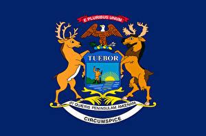 Картинки США Олени Флаг Мичиган
