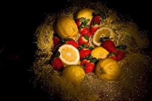 Фото Фрукты Лимоны Цитрусовые Клубника