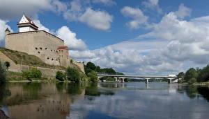 Картинка Замки Эстония Мосты Hermann Narva
