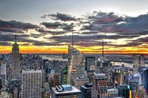 Обои США Небоскребы Дома Нью-Йорк HDR город
