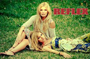 Картинка Reflex Ирина Нельсон Блондинка Трава Музыка Девушки Знаменитости