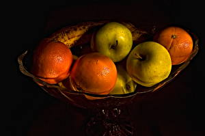 Фотография Фрукты Яблоки Цитрусовые Апельсин Пища