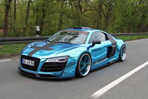 Фотографии Audi Голубых Металлик 2013 R8 V10 машины