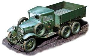Фотографии Боевая техника Грузовики Старинные GAZ-AAA машины
