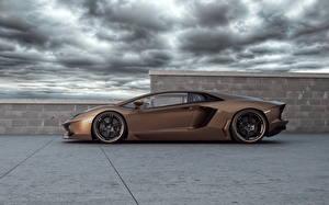 Обои Lamborghini Роскошные Сбоку 2012 Aventador LP700-4 Rabbioso авто