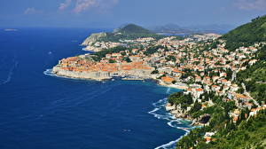 Картинка Хорватия Побережье Море Дубровник Сверху Бухта