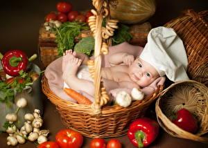 Фото Грудной ребёнок Корзина Повара Дети