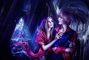Фото Любовь Мужчины Влюбленные пары Фэнтези Девушки