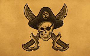 Картинка Черепа Пираты Шляпа Фэнтези