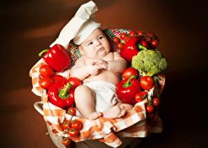 Фотографии Перец Овощи Младенец Повар ребёнок