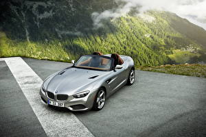 Фотографии BMW Горы Серебристый Кабриолет Родстер 2012 Roadster Zagato Авто