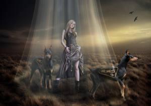 Фотографии Фантастическая техника Собаки Лучи света Роботы Доберман Фэнтези Девушки