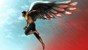 Обои Ангел Мужчины Рисованные Крылья Фантастика