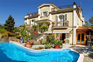 Обои Италия Здания Сорренто Особняк Плавательный бассейн Villa Adriana Guesthouse Города