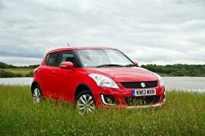Картинки Suzuki - Автомобили Красный Трава 2013 Swift 4x4 SZ4 машины