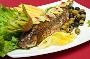 Обои Морепродукты Рыба Киви Еда фото