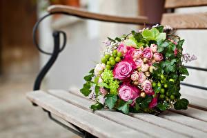 Картинка Букеты Розы Скамейка цветок