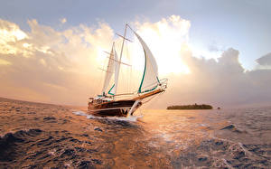 Фотография Яхта Парусные Море Облако Природа