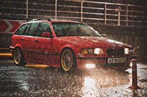 Картинки Дождь БМВ Красный Капли e36 авто