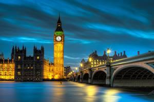 Фотографии Мост Речка Англия Ночью Лондон HDRI Биг-Бен Thames Города