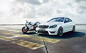 Обои Мерседес бенц Дукати Белый c63 amg 848 Автомобили Мотоциклы