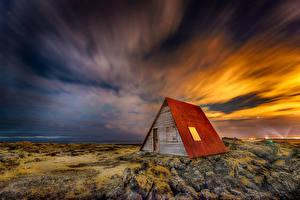 Обои Небо Дома Камни Исландия Облако Природа