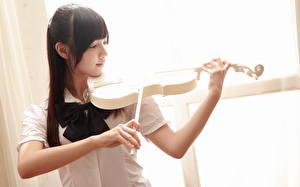Фотографии Скрипка Азиатка Брюнетки девушка
