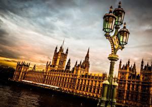 Фотографии Небо Англия Великобритания Уличные фонари Лондон Westminster Palace Города