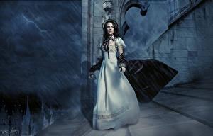 Обои Готические Дождь Ретро Ночные Молнии Платья Фэнтези Девушки