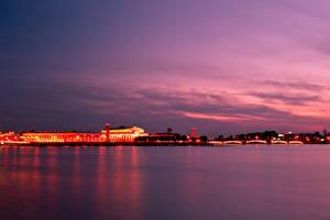 Фото Россия Санкт-Петербург Река Небо В ночи Города