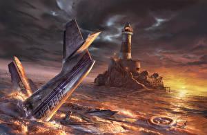 Картинки Катастрофы Самолеты Море Маяки Рассветы и закаты Авиация 3D_Графика