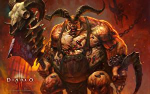 Картинка Diablo Diablo III Монстры Воители Черепа Рога Боевые топоры / Секиры Жирный Игры