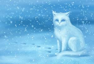 Фото Коты Рисованные Снега Сидит Снежинка Животные